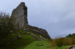 Dolwyddelan Castle. Crumbled Wall of Dolwyddelan Castle in Wales Stock Image