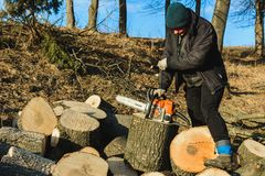 Dolyna, Ukraine, 25 February 2019. A woman carves a grass chisel saw tree from Stihl for harvesting firewood in winter royalty free stock photo