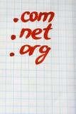 Domínio LÍQUIDO de COM de ponto ORG - conceito do Internet Foto de Stock