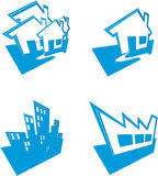 domów budynków ikony Zdjęcie Royalty Free