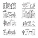 Domów doodles Obrazy Royalty Free