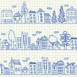Domów doodles bezszwowy wzór Fotografia Stock