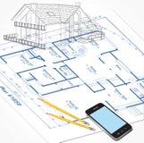 Domów planów nakreślenie Zdjęcia Stock