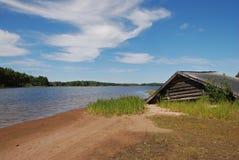 dom łódź na plaży Zdjęcie Stock
