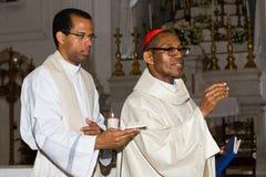 Dom Arlindo Furtado (right), First cardinal of Cape Verde. CAPE VERDE, PRAIA, ABRIL - 29: Dom Arlindo Furtado (right), first cardinal of Cape Verde, a religious Stock Photo