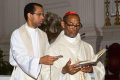Dom Arlindo Furtado (right), First cardinal of Cape Verde. CAPE VERDE, PRAIA, ABRIL - 29: Dom Arlindo Furtado (right), first cardinal of Cape Verde, a religious Royalty Free Stock Photography
