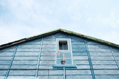 Dom błękitny drewno Obraz Stock