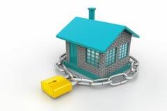 Dom blokujący w łańcuchu i kłódce Fotografia Stock