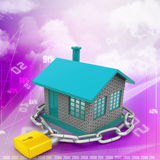 Dom blokujący w łańcuchu i kłódce Obrazy Stock