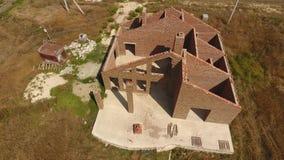 Dom buduje czerwona cegła Ściany dom są odgórnym widokiem zbiory