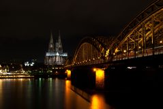 Dom of cologne at night stock photo