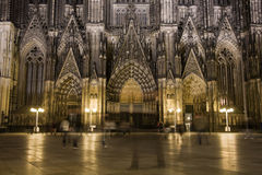 Dom in Cologne at night lighting Royalty Free Stock Photography