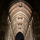 Dom de tunnel van de kerktoren 's nachts in Utrecht, Nederland Stock Foto's