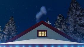 Dom dekorujący dla bożych narodzeń przy nocy zakończeniem w górę 4K ilustracji