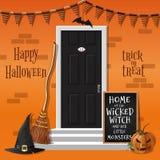 Dom dekoruje dla Halloweenowego wakacje royalty ilustracja