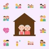 dom, dziadek kresk?wki ikona Rodzinny ikony og?lnoludzki ustawiaj?cy dla sieci i wisz?cej ozdoby royalty ilustracja
