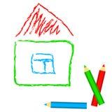 Dom - dziecko rysunkowa imitacja w wektorze, Fotografia Royalty Free