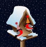 Dom-fafe dois no aviário em um fundo do céu noturno ilustração stock