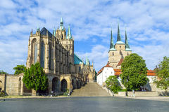 Dom hill of Erfurt Germany. Under blue sky royalty free stock images
