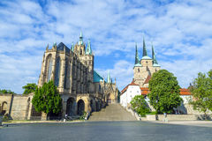 Dom hill of Erfurt Germany. In morning light stock image