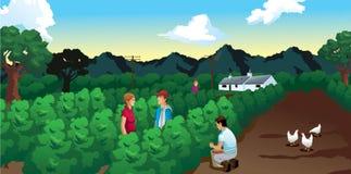 Dom i persons w polu kawa royalty ilustracja