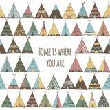 Dom jest dokąd ty jesteś Teepee namiotu ilustracja Obraz Royalty Free