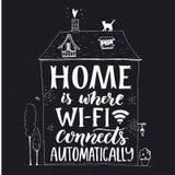 Dom jest dokąd wifi łączy automatycznie Zabawa zwrot o internecie royalty ilustracja