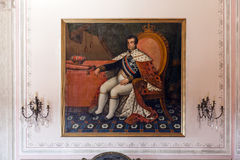 Dom João VI国王画象在Mafra国民宫殿 免版税图库摄影