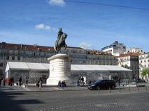 Dom Joao Monument in Praca da Figueira, Rossio District stock photo