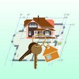 Dom, keyring z kluczami na domowym planu tle royalty ilustracja
