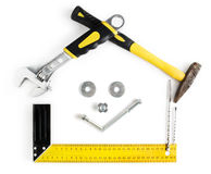 Dom kształtująca rama z uśmiechem robić narzędziami Zdjęcie Royalty Free