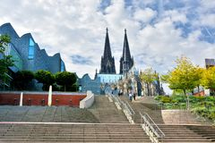 Dom and Ludwig Museum in Cologne. Cathedral St. Peter and art museum Ludwig in Cologne, Germany. Köln is one of the most visited cities  in north rhine Stock Images