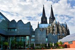 Dom and Ludwig Museum in Cologne. Cathedral St. Peter and art museum Ludwig in Cologne, Germany. Köln is one of the most visited cities  in north rhine Royalty Free Stock Image