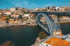 Dom Luis żelaza most przy Duoro rzeką w starym w centrum Porto Fotografia Royalty Free
