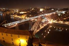 Dom Luis  Bridge. Illuminated at night. Oporto, Portugal  wester Stock Images