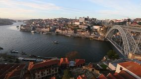 Dom Luis Bridge and Douro river in Porto stock footage