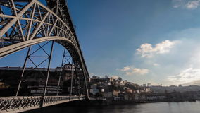Dom Luis Bridge I during sunset in Porto, Portugal stock video footage