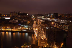 Dom Luis bridge at night, Porto Stock Image