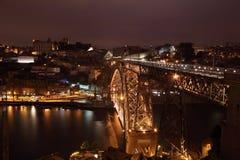 Dom Luis bridge at night, Porto. View over the Dom Luis I bridge and Porto at night, Portugal Stock Image