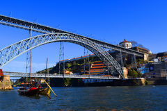 Dom Luis Bridge, Porto. The Dom Luis Bridge, a double-decked metal arch bridge that spans the Douro River between the cities of Porto and Vila Nova de Gaia in royalty free stock image