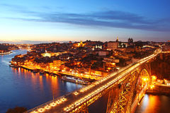 Dom Luis Bridge and Porto old town, Portugal Stock Photography