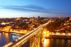 Dom Luis Bridge and Porto old town, Portugal Stock Images