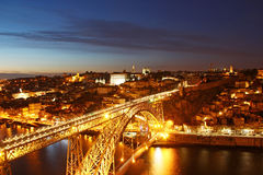 Dom Luis Bridge and Porto old town, Portugal Royalty Free Stock Photo