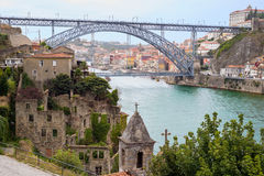 Dom Luis Bridge and Porto Oporto downtown viewed from romantic church ruins Stock Image