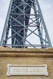 Dom Luis Bridge steel construction detail with sign at Porto Oporto Stock Photo