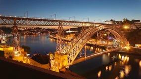 Dom Luis Bridge timelapse, Porto. The Dom Luis I Bridge timelapse. Dom Luis Bridge is a metal arch bridge that spans the Douro River between Porto and Vila Nova stock video footage
