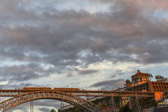 Dom Luis I Bridge at center of Old Porto. Royalty Free Stock Images