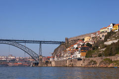 Dom Luis I Bridge and City Wall, Porto Stock Image
