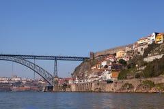Dom Luis I Bridge and City Wall, Porto Stock Image