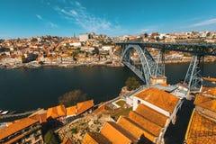Dom Luis I bridge, Douro river and Ribeira, Porto Stock Images